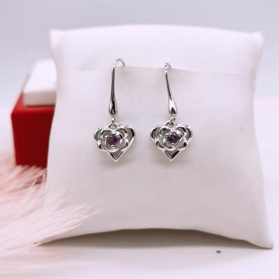 S925银电白紫晶耳坠