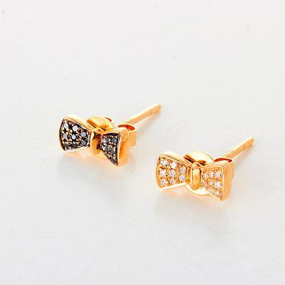幸福单身AU750 18K玫瑰金钻石耳钉小清新 时尚款 送女友 送老婆
