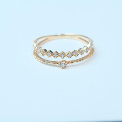 幸福单身18k玫瑰金钻石戒指