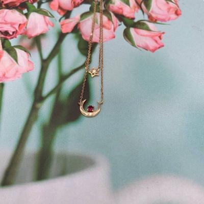 幸福少女18K金玫瑰色红碧玺项链套链女小清新轻奢款项链