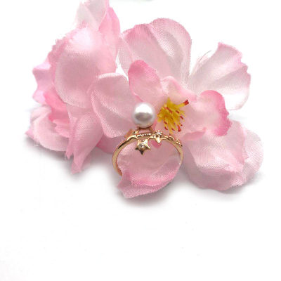 18K红珍珠戒指