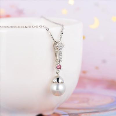 百缘百合 S925银电白珍珠吊坠