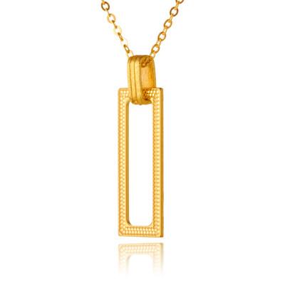幸福几何 5G足金999素金套链简约方形黄金吊坠项链送女友节日礼物