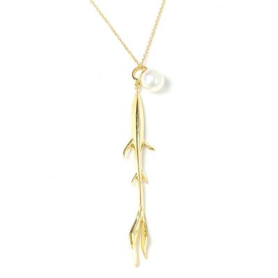幸福天涯18k金 套链 AU750金黄色珍珠套链