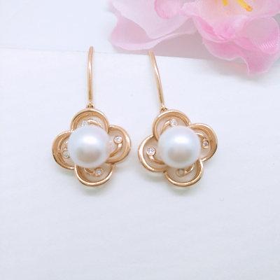 幸福珍惜-18K金玫瑰色钻石珍珠耳饰 时尚花朵女款耳坠