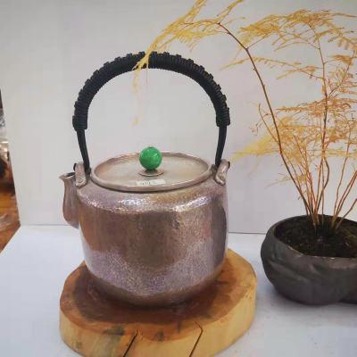 粼光-足银仿古翡翠茶具-捶纹浅旧提梁壶