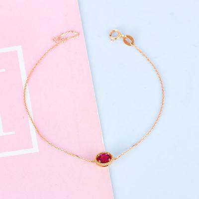 幸福悦己AU750金玫瑰色红碧玺手链 18K金红色蛋面珠宝手链 时尚显气质