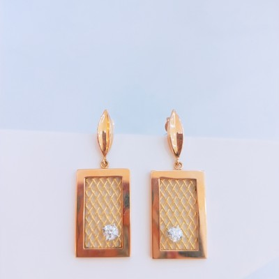 冀金匠幸福情网18K金4D分色钻石耳环