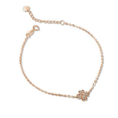 幸福珠宝专柜正品 幸福感悟微幸福微幸福AU750金玫瑰色钻石手链