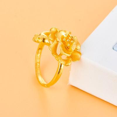 信德缘幸福新娘 足金999.9素金戒指 黄金花朵女戒 奢华大气 婚庆结婚礼计价黄金