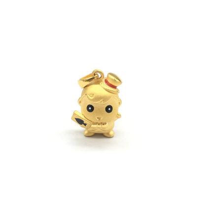 幸福小宝 3D硬金黄金素金滴胶ins风吊坠