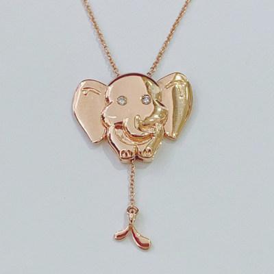 幸福顽味18K金玫瑰色钻石套链