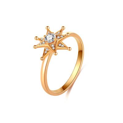 幸福希望 18K金玫瑰色钻石戒指 幸运八芒星 气质百搭