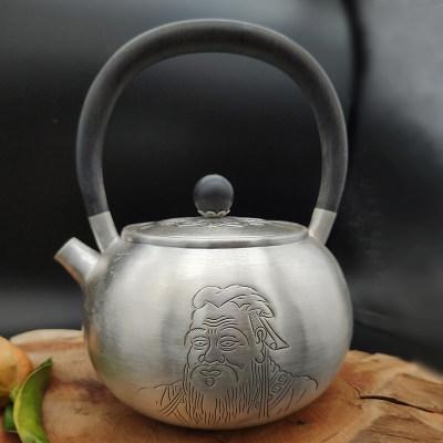艺魂 足银仿古檀木茶具-孔圣(黑檀木提梁小壶)