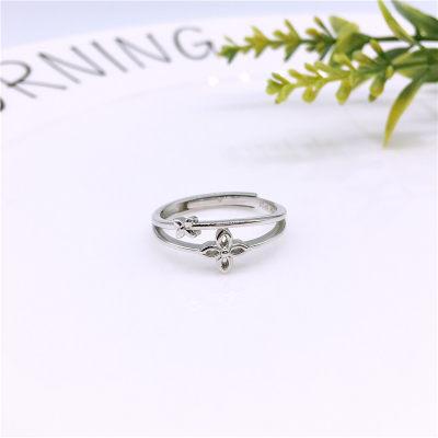 梦幻牡丹S925银素银戒指