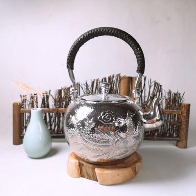 足银本色茶具**-龙凤提梁壶