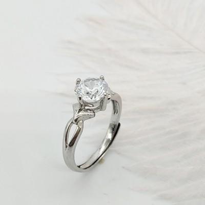 S925银合成立方氧化锆镶嵌活口戒指