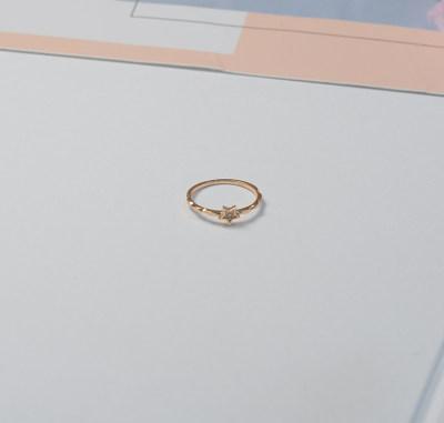 AU750金玫瑰色石镶嵌女款戒指