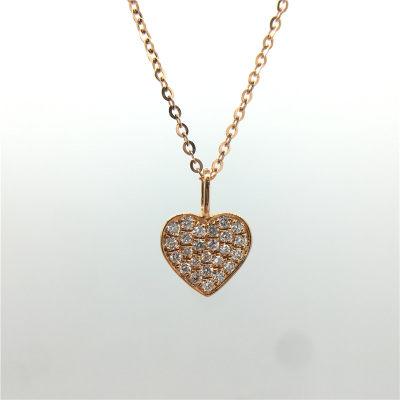 幸福微笑K金玫瑰色钻石套链