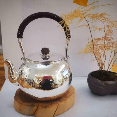 足银本色菩提茶具**-菱形提梁壶