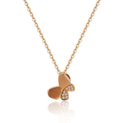 幸福寻梦系列AU750金玫瑰色钻石蝴蝶套链