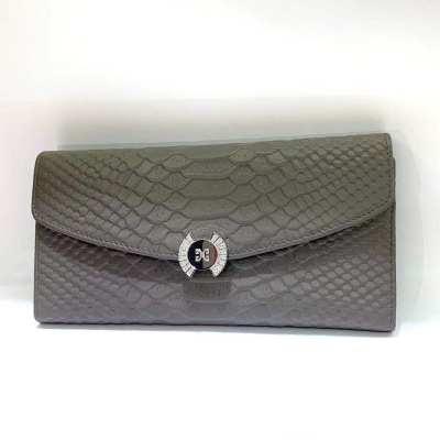 御宝隆专柜正品 S925银 电银合成立方氧化牛皮钱包 灰色 送女友