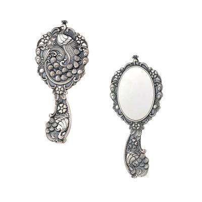 银花赋 足银仿古镜子·孔雀 送母亲送爱人银礼品