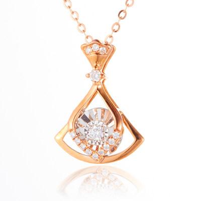 幸福轻舞 AU750金分色钻石吊坠幸福轻舞-灵动系列简约气质玫瑰金吊坠生日情人节礼物送女友