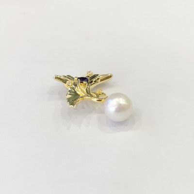 幸福悦己个性S925银珍珠吊坠修脸型银杏叶饰品
