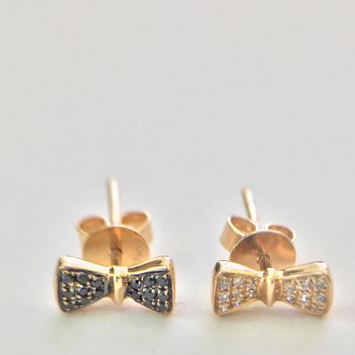 幸福单身18K玫瑰金钻石耳钉