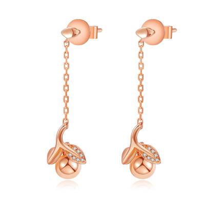 幸福果实 18K金 耳钉 AU750金玫瑰色钻石耳钉