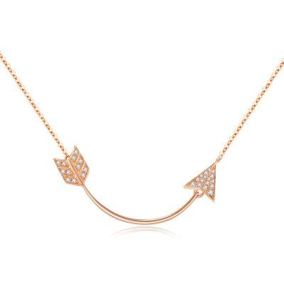幸福猎人AU750金玫瑰色钻石项链套链