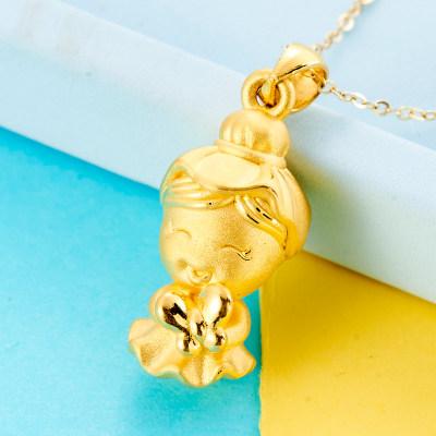 幸福少女 3D硬足金999素金吊坠(不带链)