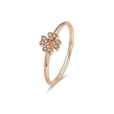 幸福珠宝专柜正品 幸福感悟微幸福微幸福AU750金玫瑰色钻石女戒