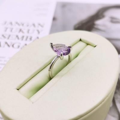 S925银电白紫晶戒指