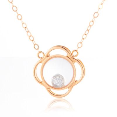 幸福之镜 AU750金玫瑰色钻石套链