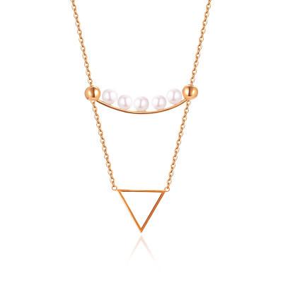 幸福真谛 18K金玫瑰色珍珠简约几何套链/节日礼品送女友老婆闺蜜