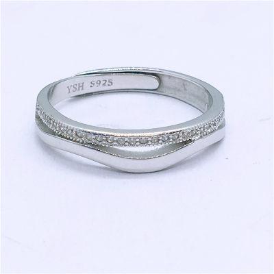 爱情城堡 S925银合成立方氧化锆镶嵌男款活口戒指