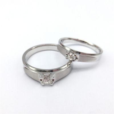 幸福承诺-18K白金色钻石情侣戒女款求婚订婚钻戒AU750钻戒定制