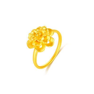 幸福绽放 富贵花开黄金戒指 足金花朵女戒婚嫁珠宝 求婚纪念表白礼