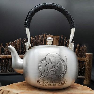 艺魂足银本色茶具礼品-世尊佛陀