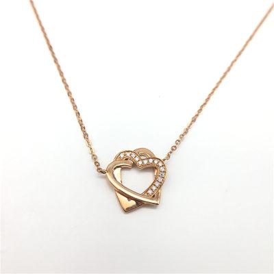 邂逅幸福 AU750金玫瑰色钻石项链