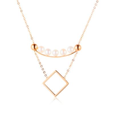 幸福积分系列18K金玫瑰色珍珠项链(方形款)