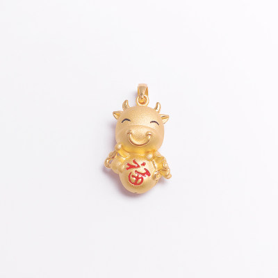 幸福生肖缘系列3D硬金素金幸福牛吊坠