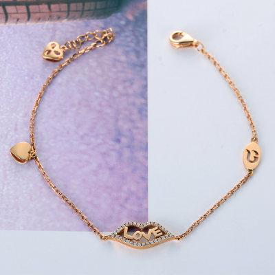 幸福轻吻AU750金玫瑰色钻石手链时尚轻奢设计手饰送女友礼品