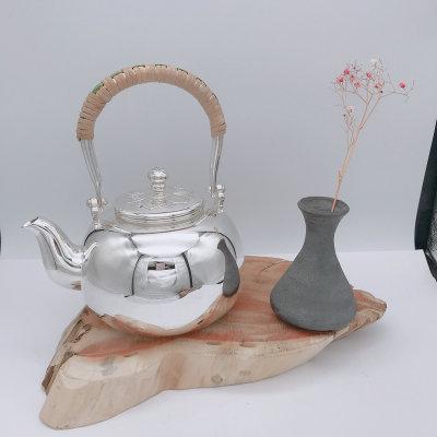 粼光-足银本色茶具-全光面提梁壶