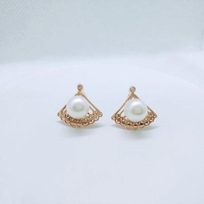 幸福女神 18K金玫瑰色钻石珍珠耳钉女气质日韩范个性简约创意AU750