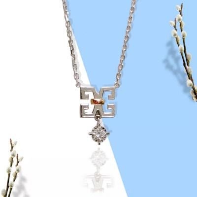 金钻爱人 18K金白色钻石镶嵌套链女项链 时尚简约