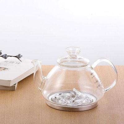 天官赐足银玻璃养生银壶-一团和气系列赠电陶炉套装