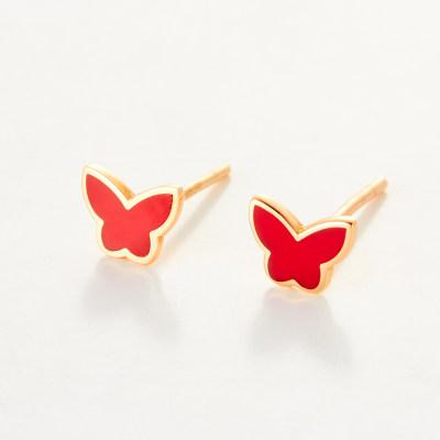 幸福之夏-AU750金玫瑰色滴胶素金耳钉 红色蝴蝶创意耳钉